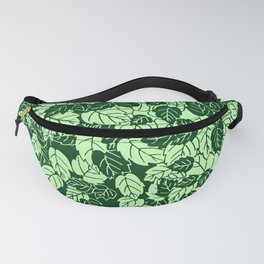 Japanese Leaf Print, Emerald and Lime Green Fanny Pack