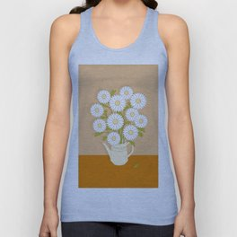 bouquet of white camomiles in the vase Unisex Tank Top