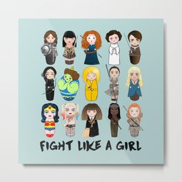 Kokeshis Fight like a girl Metal Print