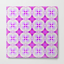 Purple Floral Tiles Metal Print