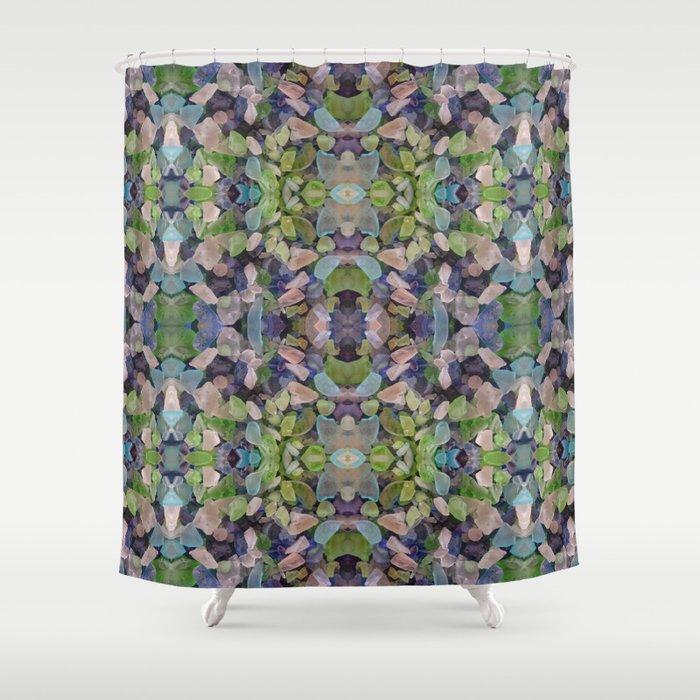Sea Glass Mosaic Shower Curtain