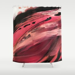 Entangled [2]: a vibrant, colorful abstract mixed-media piece in reds, pinks, black and white Shower Curtain