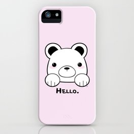 Pink Girly Girl Hello Bear Kawaii! Awww She Just Wants To say Hello! iPhone Case