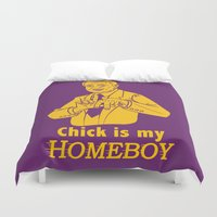 lakers Duvet Covers featuring Chick is my Homeboy! by GOGILAND