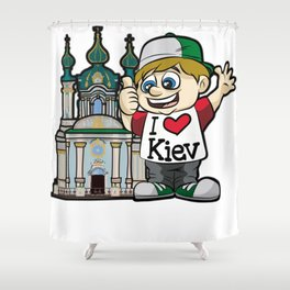 I LOVE KIEV Ukraine Russia Tourist Vacation City Shower Curtain