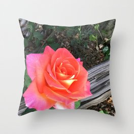 Rose On a fence Throw Pillow
