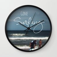 surfing Wall Clocks featuring Surfing by Brandy Coleman Ford