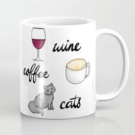 Wine Coffee Cats Coffee Mug