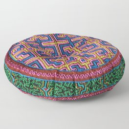 Song for Creativity - Traditional Shipibo Art - Indigenous Ayahuasca Patterns Floor Pillow