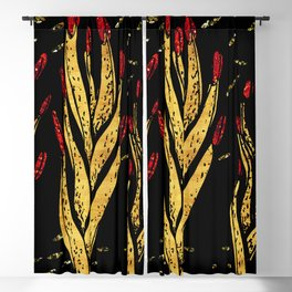 Gold aloe hands Blackout Curtain