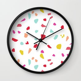 Lipstick And Petals - Modern Terrazzo Vector Pattern Wall Clock