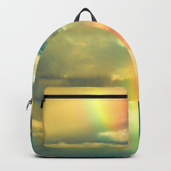 Rainbow Blue Sky Clouds Backpack