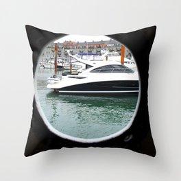 Port Hole View of Boston Throw Pillow