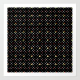 Chili Peppers & Flowers on Micro Polka Dots Art Print