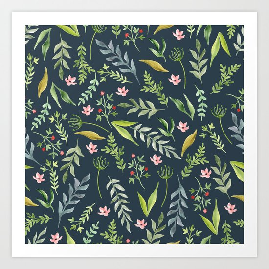 Floral blue pattern. Watercolor Art Print