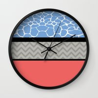 preppy Wall Clocks featuring Confused Preppy Prints by Raizhay Lough