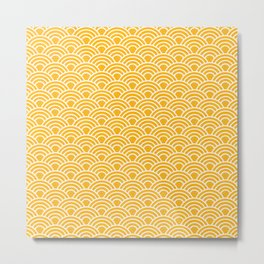Gold Japanese Seigaiha Wave - Watercolor Pattern, Summer Vibes, Golden Sun Metal Print