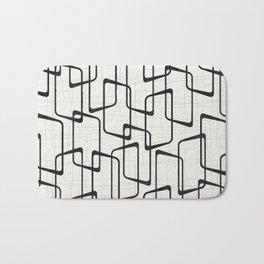 Black Retro Rounded Rectangles Geometric Pattern Bath Mat