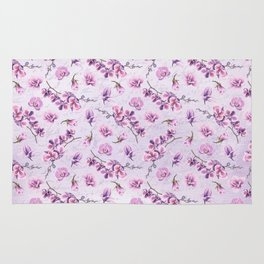Branches with Purple Orchids Rug
