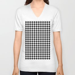 Black and White Houndstooth Pattern Unisex V-Neck