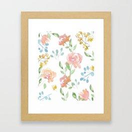 Mustard Floral Pattern Framed Art Print