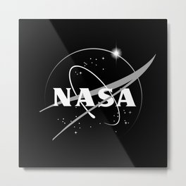 Nasa-Black and white-Logo Metal Print