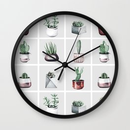 Cactus Bunch Grid Rose Gold Gray Green Wall Clock