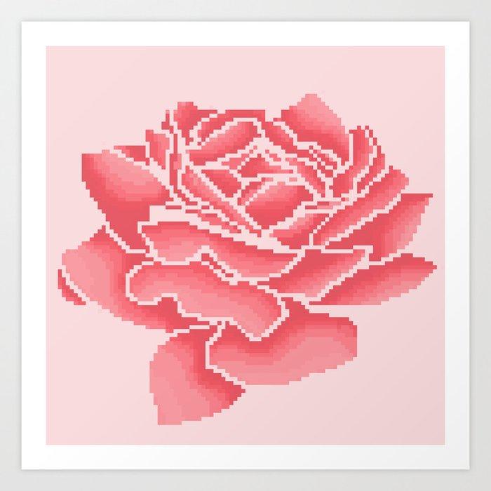 Pink Rose Pixel Art Art Print By Quinnebutterfly