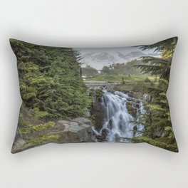 Mount Rainier and Myrtle Falls, Late Afternoon Rectangular Pillow