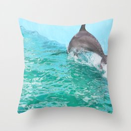 Speedy dolphin Throw Pillow