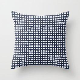 Little Blocks in Navy Throw Pillow