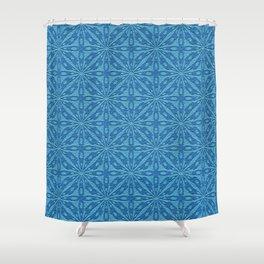 Blue Faux Leather Texture Geometric Pattern Shower Curtain