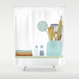 The Kitchen Shelf Shower Curtain