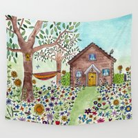 cabin Wall Tapestries featuring Spring Cabin by Flora Fricker