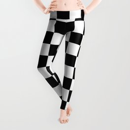 chess board, chessboard  black and white pattern Leggings