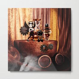 Cute little steampunk friends Metal Print