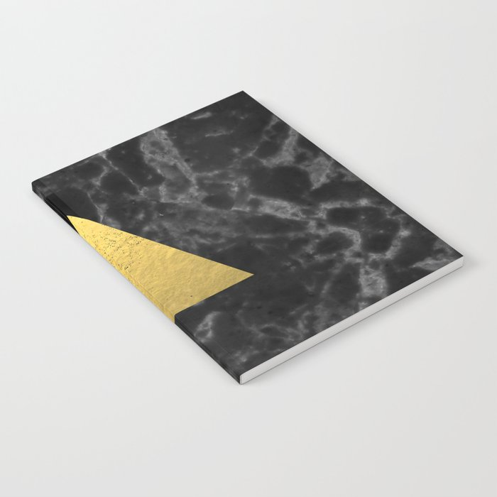 Black Gold Marble Tri - dark solid classic gold foil on marble cell phone case for college dorm  Notebook