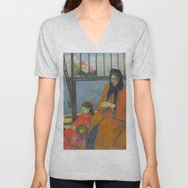 Schuffenecker Family by Paul Gauguin Unisex V-Neck