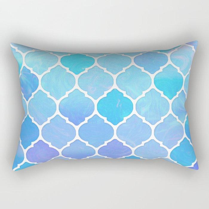 Blue and purple glass Moroccan print Rectangular Pillow