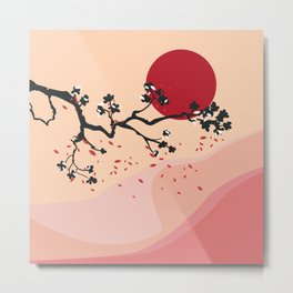 Cherry Blossoms Contemporary Abstract Metal Print