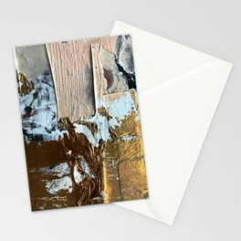 Compelling: a minimal, abstract mixed-media piece in gold, pink, black and white by Alyssa Hamilton Stationery Cards