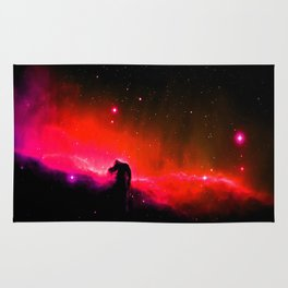 Horsehead NebULa : Coral Red Pink Rug