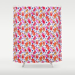Bright Australian native floral print - grevillea and beehive ginger Shower Curtain