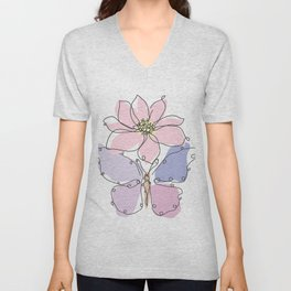 Butterfly and Anemone Flower Unisex V-Neck