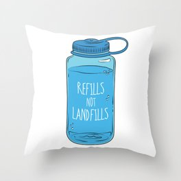 Refills Not Landfills Water Bottle Throw Pillow