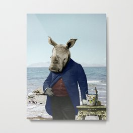 Mr. Rhino's Day at the Beach Metal Print