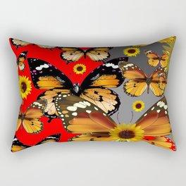 RED & GREY BROWN BUTTERFLIES ART Rectangular Pillow