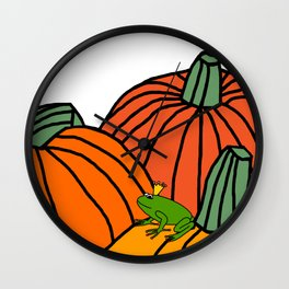 Frog Prince waiting in the Pumpkin Patch for Halloween Wall Clock