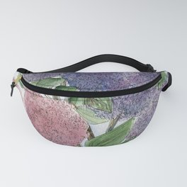 Lilacs and Bees Watercolor Painting Fanny Pack