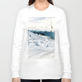 Snowy life on slope under T-bar lifts Long Sleeve T-shirt